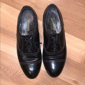 Florsheim comfortech cap toe black leather sz 9.5